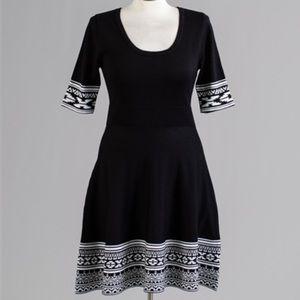 Nina leonard scoop necks printed dress a line NWT